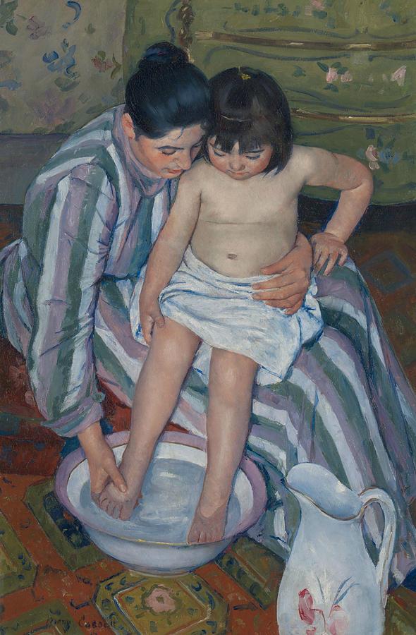 American Artist Painting - The Childs Bath by Mary Cassatt