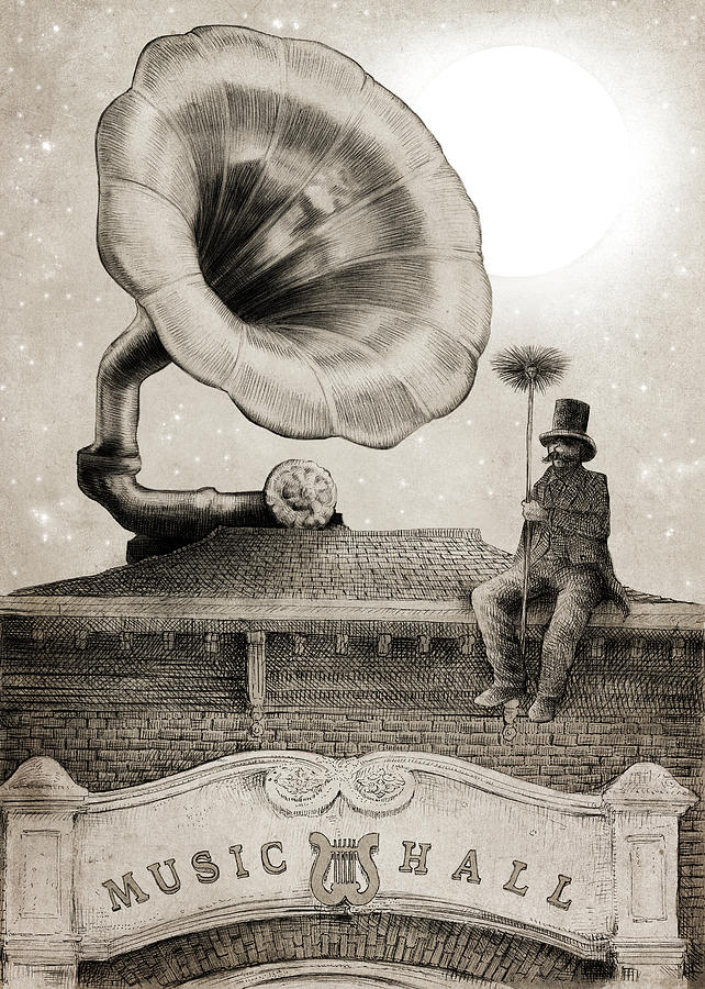 Gramophone Drawing - The Chimney Sweep monochrome by Eric Fan