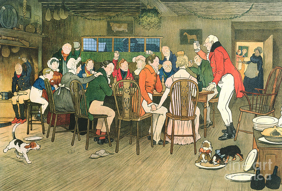 Christmas Painting - The Christmas Dinner At The Inn by Cecil Charles Windsor Aldin