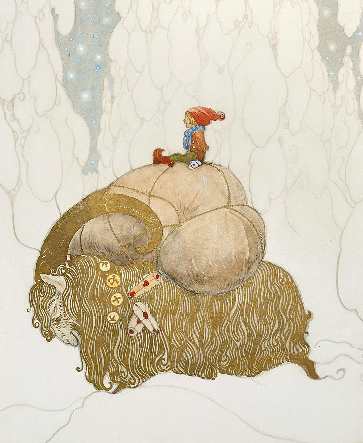 Swedish Painters Painting - The Christmas Goat  by John Bauer