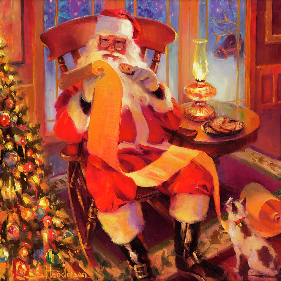 Santa Painting - The Christmas List by Steve Henderson