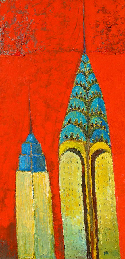 The Chrysler And The Empire State Painting by Habib Ayat