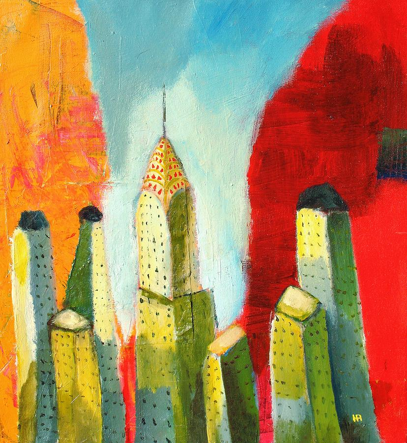 Abstract Cityscape Painting - The chrysler building in colors by Habib Ayat