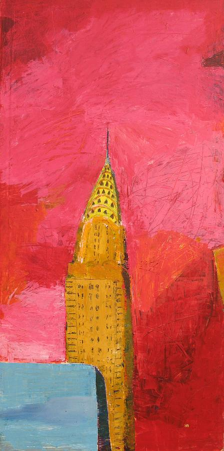 Nyc Painting - The Chrysler With Red by Habib Ayat