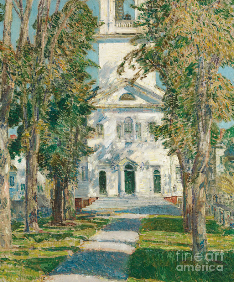 Childe Hassam Painting - The Church At Gloucester, 1918 by Childe Hassam