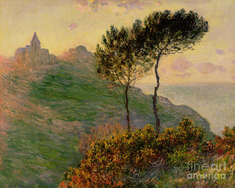 Tree Painting - The Church At Varengeville Against The Sunlight by Claude Monet