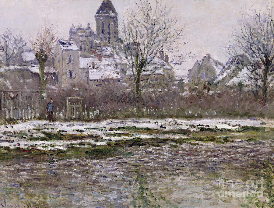 The Painting - The Church At Vetheuil Under Snow by Claude Monet