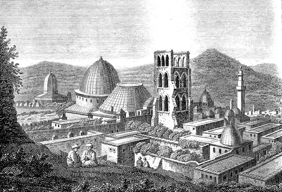 Engraving Drawing - The Church Of The Holy Sepulchre With The Dome Of The Rock  by Ludwig Mayers