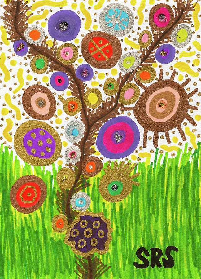Vibrant Drawing - The Circle Tree by Susan Schanerman