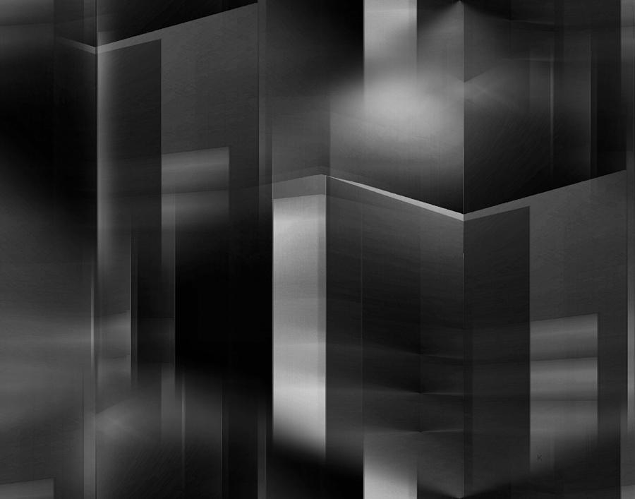 Abstract Digital Art - The City At Night 3 by John Krakora