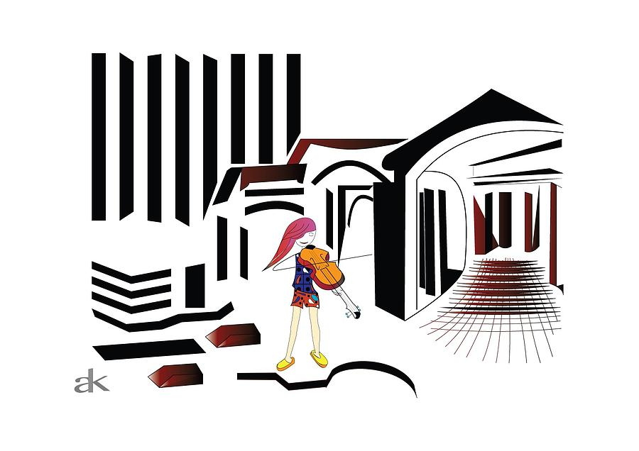 Cartoon Digital Art - The City Musician  by Ani Khachatryan