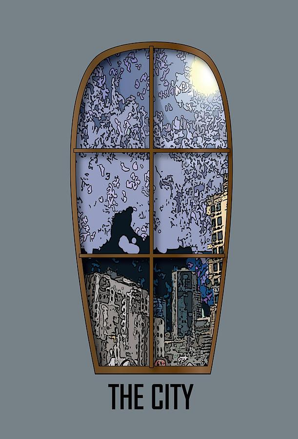 Window Digital Art - The City Window by Simone Pompei