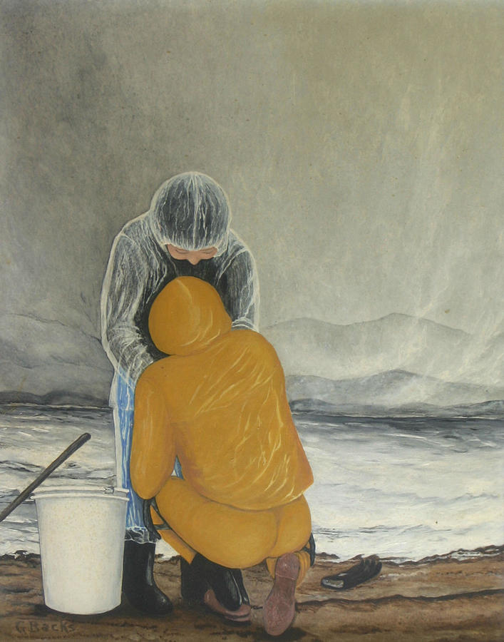 Figurative Painting - The Clamdigger by Georgette Backs