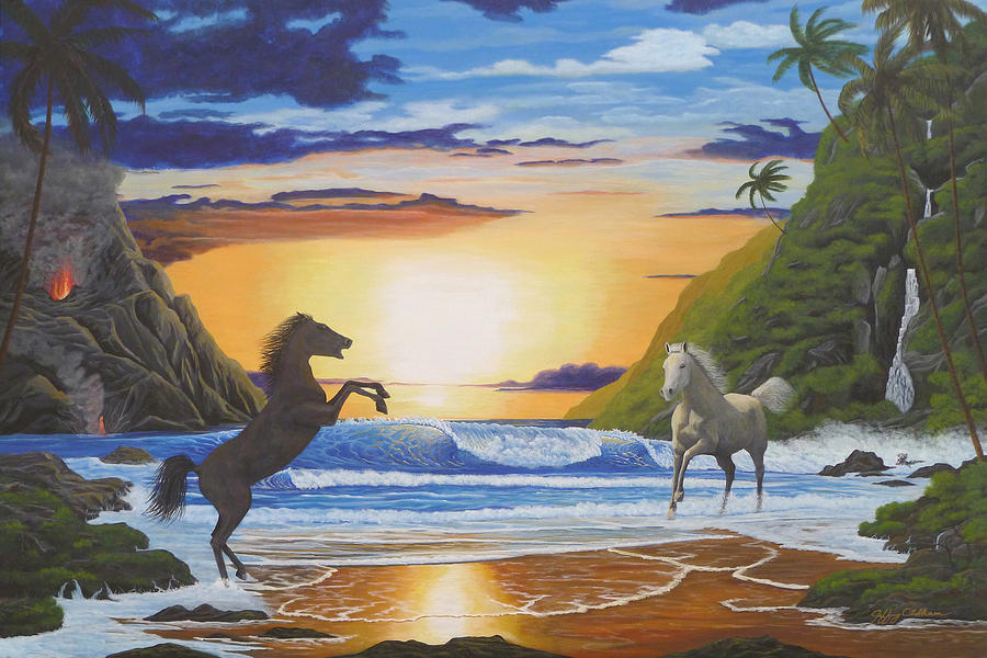 Horses Painting - The Clash by Jeffrey Oldham