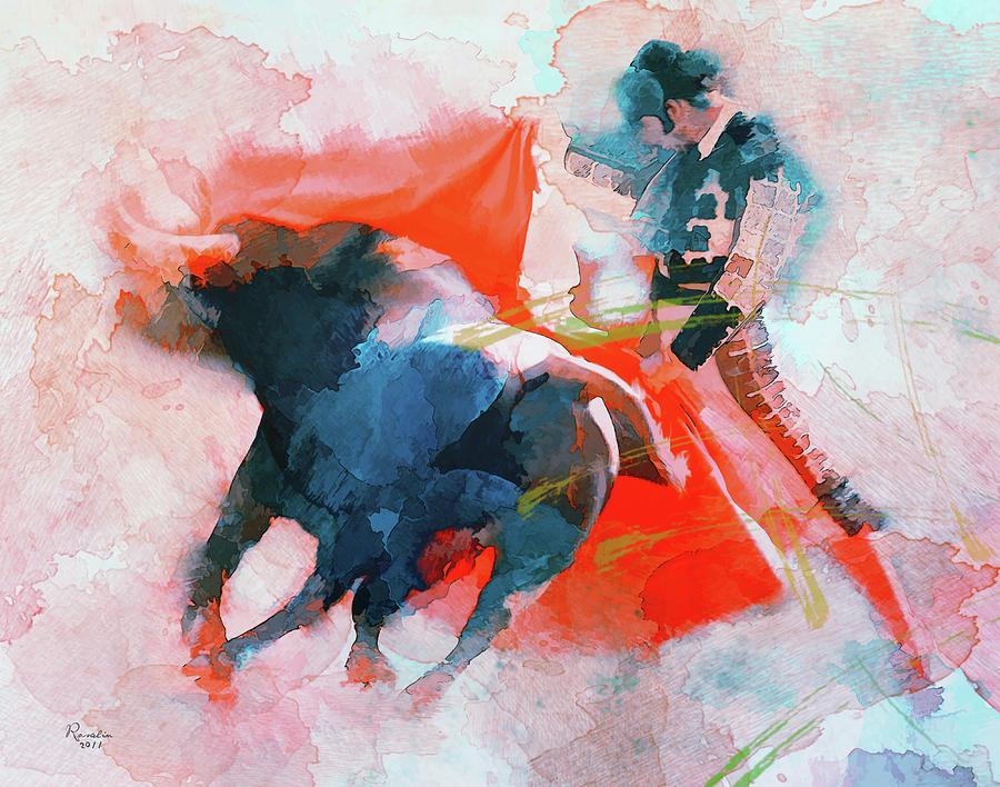 Bullfighting Painting - The clash of Power and Will by Rosalina Atanasova
