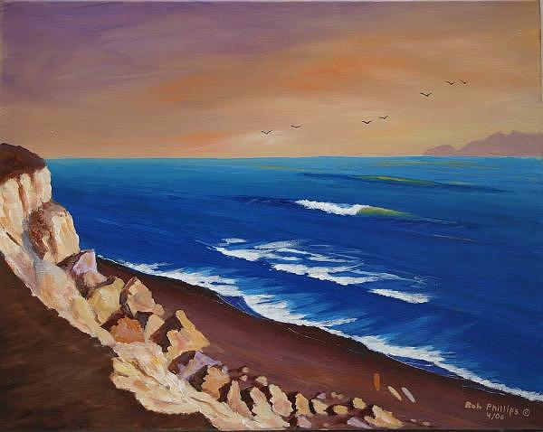 Surf Artist Painting - The Cliffs by Bob Phillips