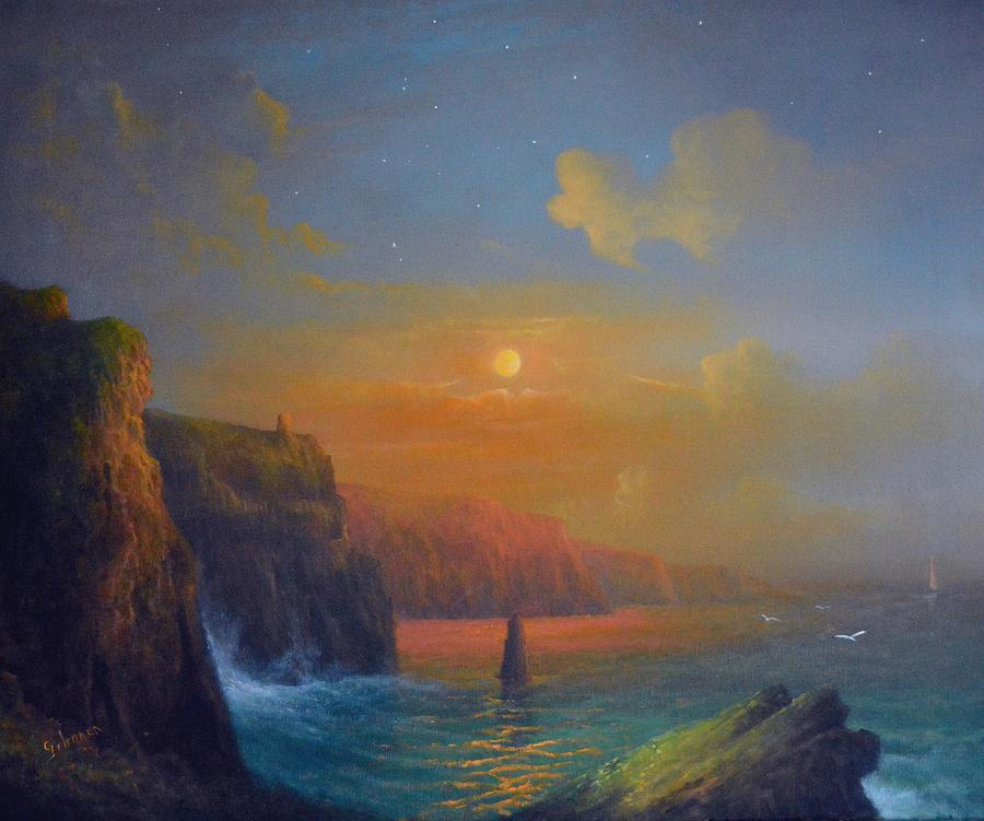 Cliffs Of Moher Painting Painting - Ireland The Cliffs Of Moher  by Joe Gilronan