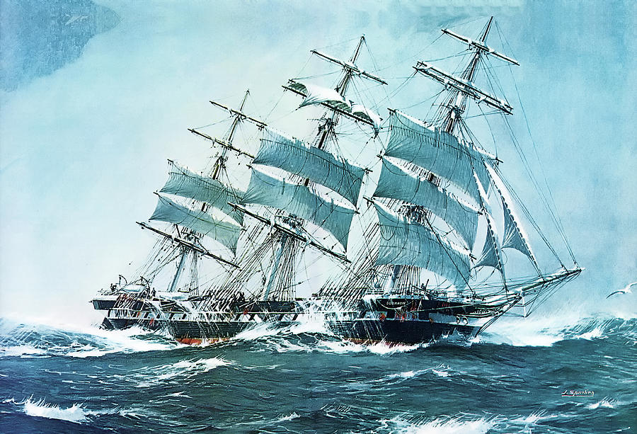 Artwork Painting - The Clipper Ship Sobraon by Jack Spurling