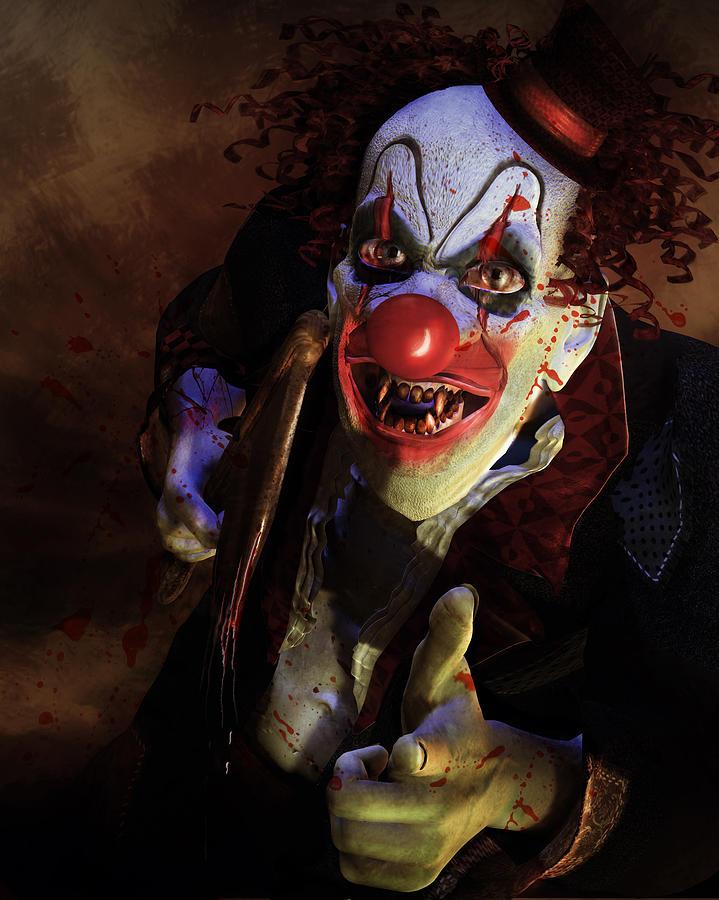 Horror Digital Art - The Clown by Mary Hood