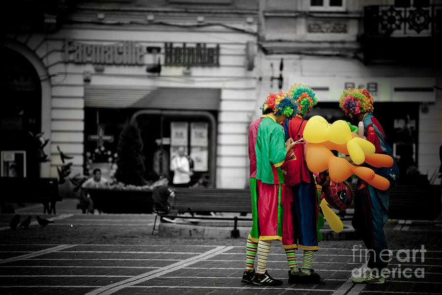 Black And White Photograph - The Clowns Conspiracy by Gabriela Insuratelu