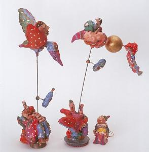 Mixed Media Sculpture - The Clowns Wife And The Magicians Wife by Mirel Goldenberg