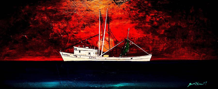 Fishing Boat Painting - The Clyde Phillips At Sea by Barry Knauff