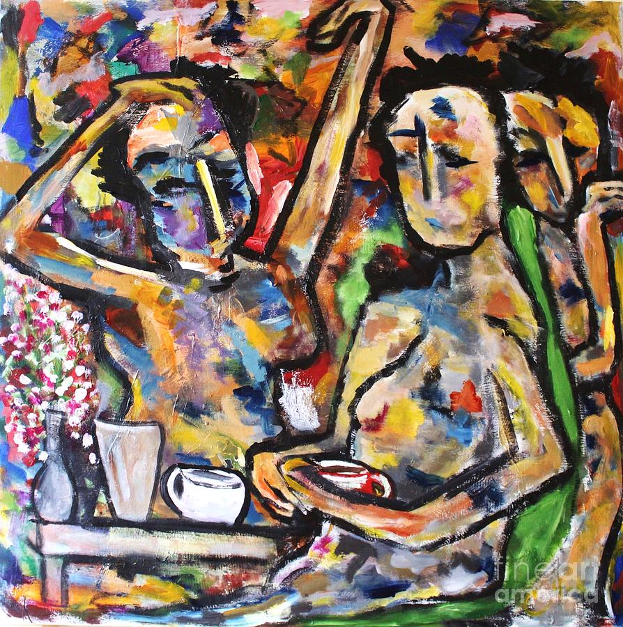 Figurative Painting - The Coffee Shop by Chaline Ouellet