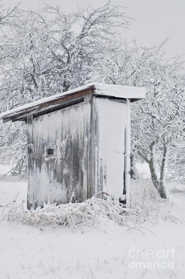 Outhouse Photograph - The Coldest Fifty Yard Dash by Benanne Stiens