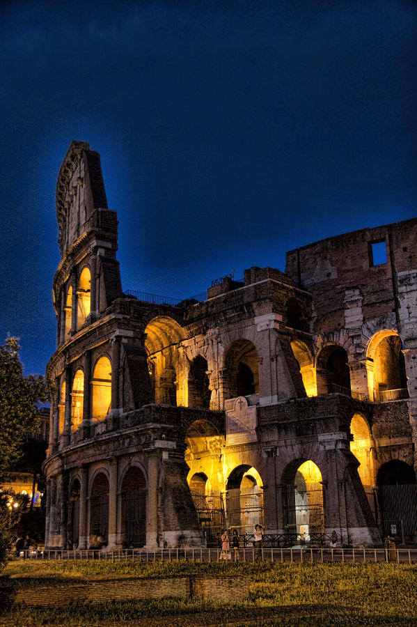 Night Photograph - The Coleseum In Rome At Night by David Smith