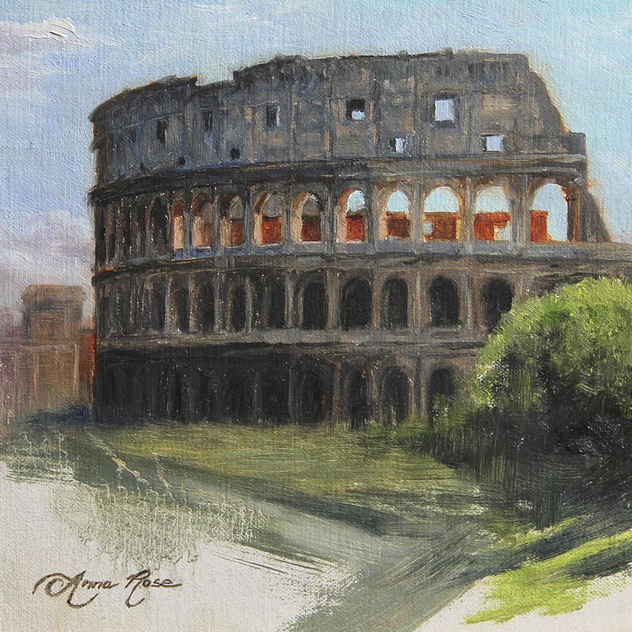 Landscape Painting - The Coliseum Rome by Anna Rose Bain
