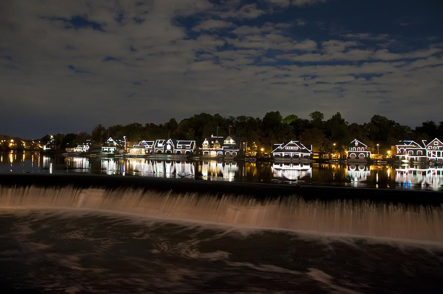 The Colorful Lights Of Boathouse Row Photograph - The Colorful Lights Of Boathouse Row by Bill Cannon