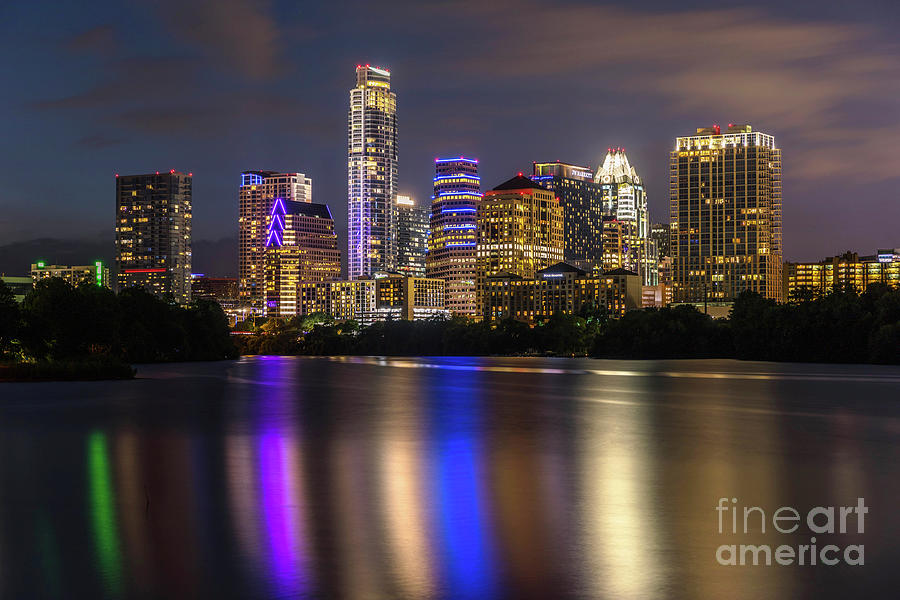 Colorful Photograph - The Colorful Neon Lights On The Austin Skyline Shine Bright by Austin Welcome Center