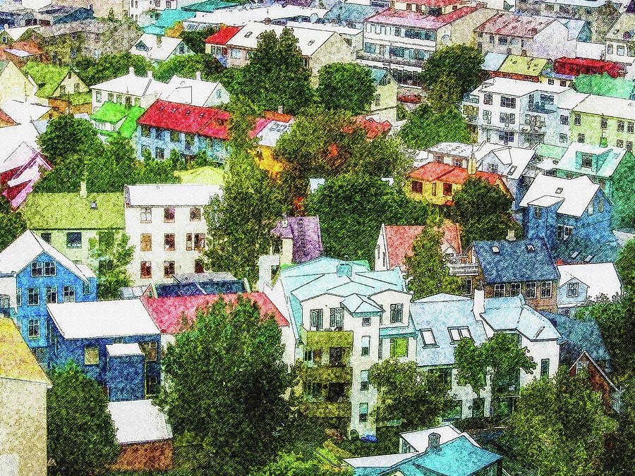 Iceland Digital Art - The Colors Of Reykjavik by Frans Blok