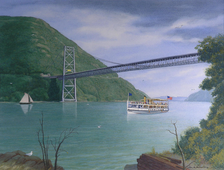 Hudson River Painting - The Commander At Bear Mt. Bridge  by Glen Heberling