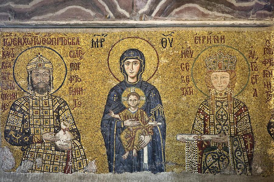 Istanbul Photograph - The Comnenus Mosaics In Hagia Sophia by Ayhan Altun