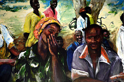 African Village Painting - The Compliment by Michelle Winnie