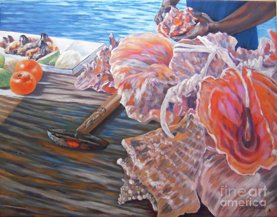 Bahamas Painting - The Conchman by Danielle  Perry