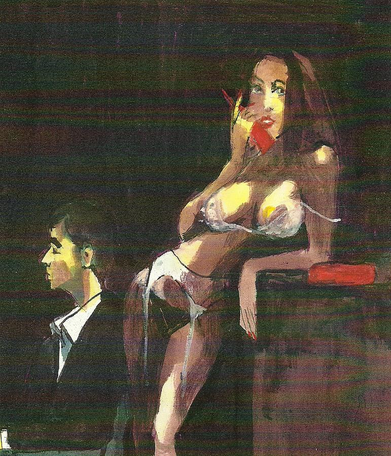 Realism Painting - The Connection IV Hookers Series Inspired by Amer German Artist Richard Lindner by Harry  Weisburd