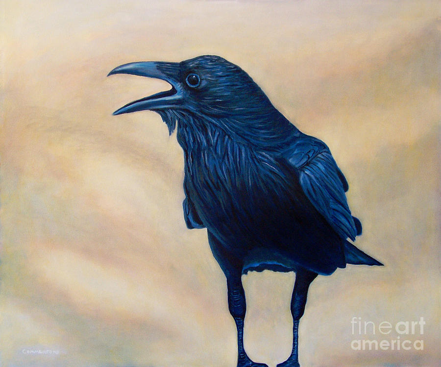 Raven Painting - The Conversation by Brian  Commerford