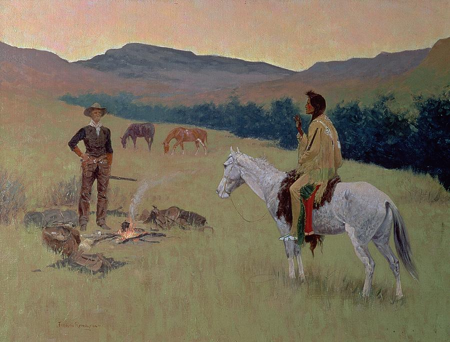 The Conversation Painting - The Conversation by Frederic Remington