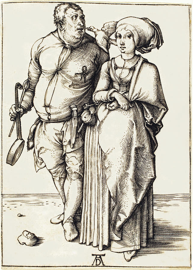Durer Drawing - The Cook And His Wife by Albrecht Durer