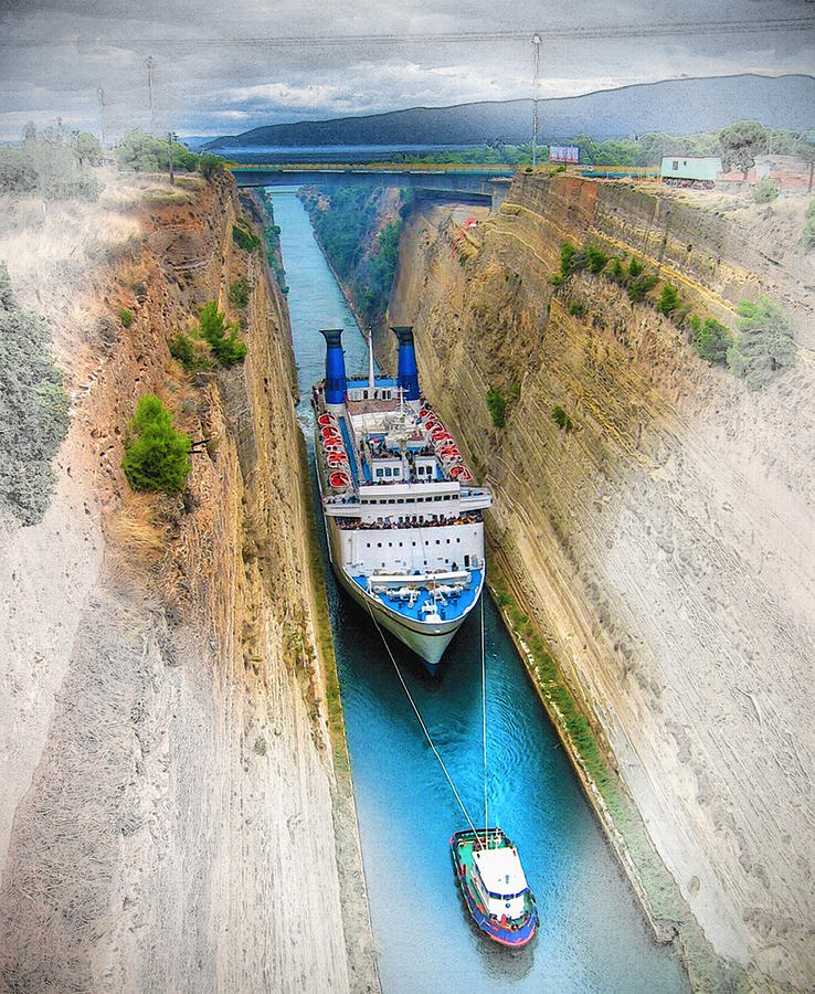 Art & Collectibles Digital Art - The Corinth Canal  by Don Kuing