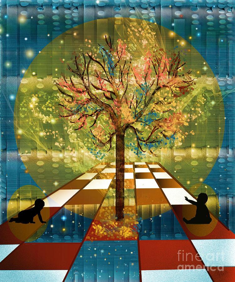 Tree Digital Art - The Cosmic Tree by Sydne Archambault