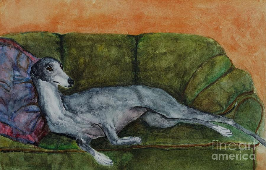 Greyhounds Painting - The Couch Potatoe by Frances Marino