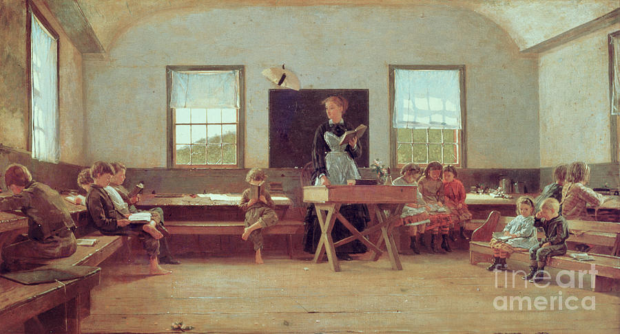 Schoolhouse Painting - The Country School by Winslow Homer
