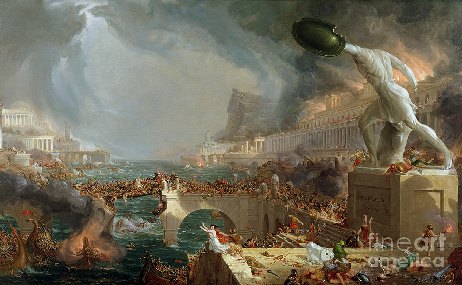 Monument Painting - The Course of Empire - Destruction by Thomas Cole
