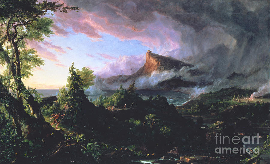Neanderthal Painting - The Course Of Empire - The Savage State by Thomas Cole