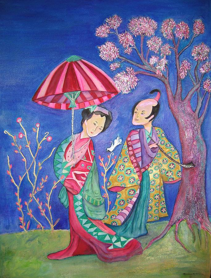 Umbrella Painting - The  Courtship by Marlene Robbins