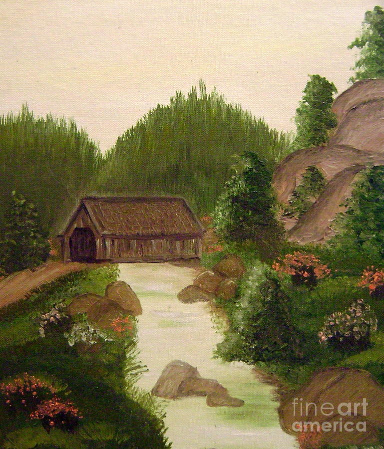Bridge Painting - The Covered Bridge by Kim Walker
