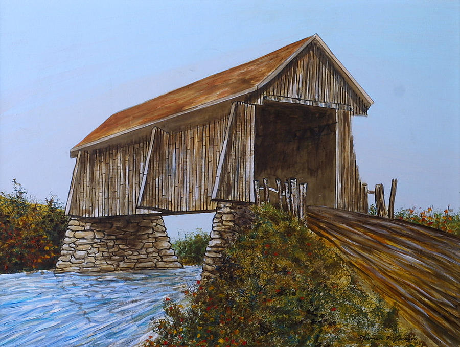 Covered Bridge Painting - The Covered Bridge by Norman F Jackson